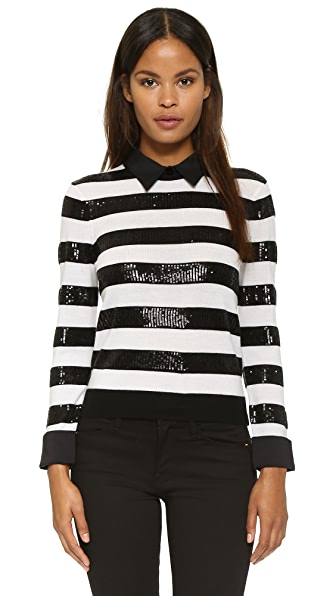 Alice + Olivia Marlee Sequin Stripe Sweater - Black/White