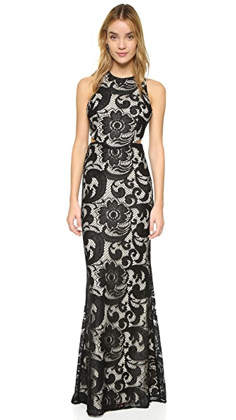 Alice + Olivia Adel Side Cutout Dress - Black/Natural