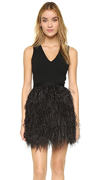 alice + olivia Kiara Feather Dress