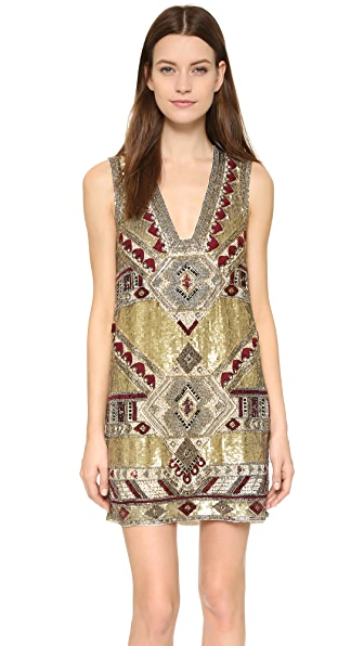 alice + olivia Odell Embellished Caftan Mini Dress