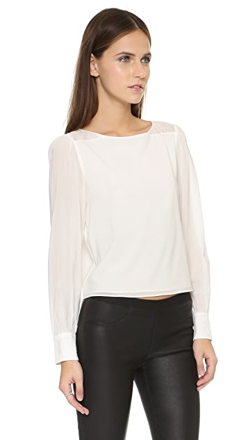 alice + olivia Bey Lace Detail Blouse