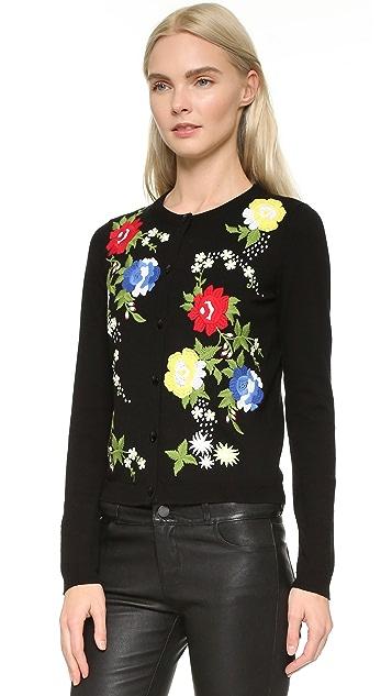 alice + olivia Elvira Floral Embroidered Cardigan