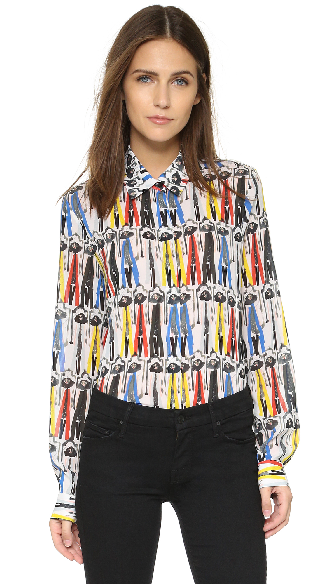 12a1ee412ef61 alice + olivia Willa Placket Top on PopScreen