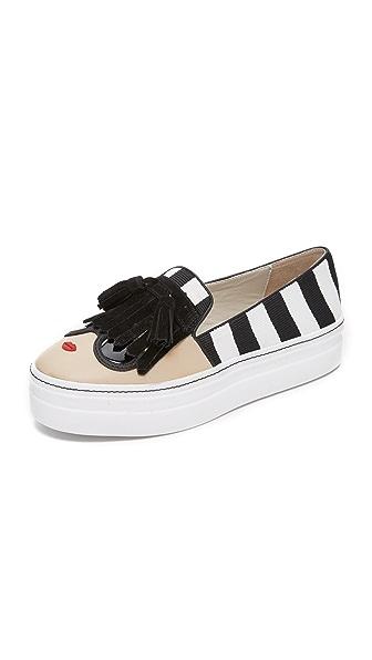 Alice + Olivia Stace Face Platform Slip On Sneakers - Black/White at Shopbop