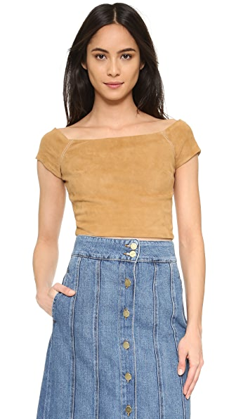 alice + olivia Gracelyn Suede Off Shoulder Crop Top