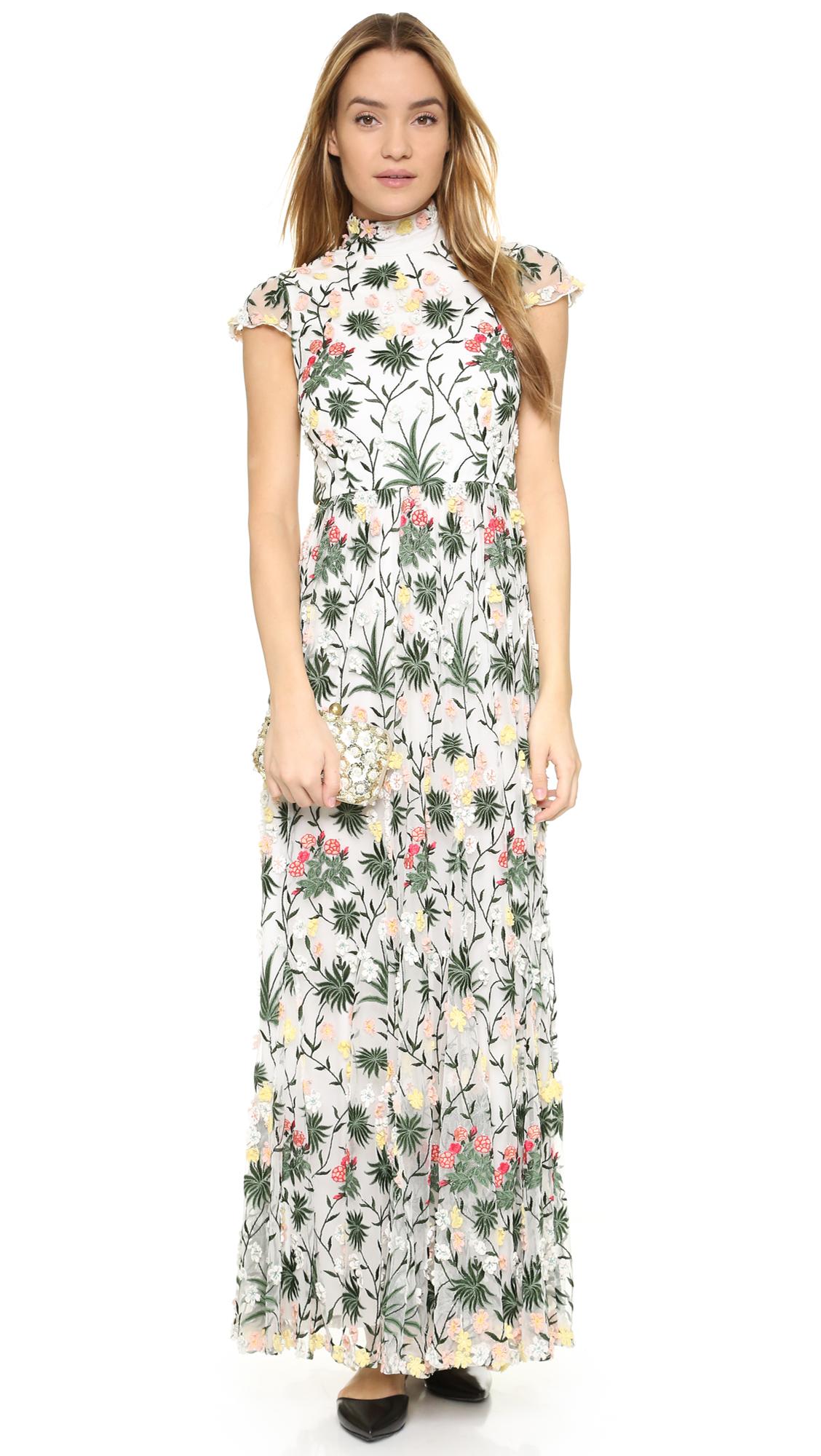 alice + olivia Arwen Embroidered Gown | SHOPBOP