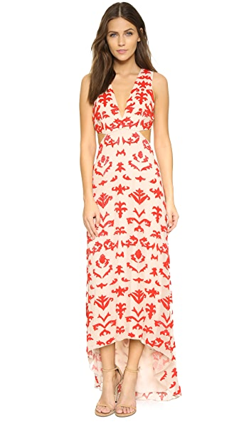 alice + olivia Juelia Embroidered High Low Gown