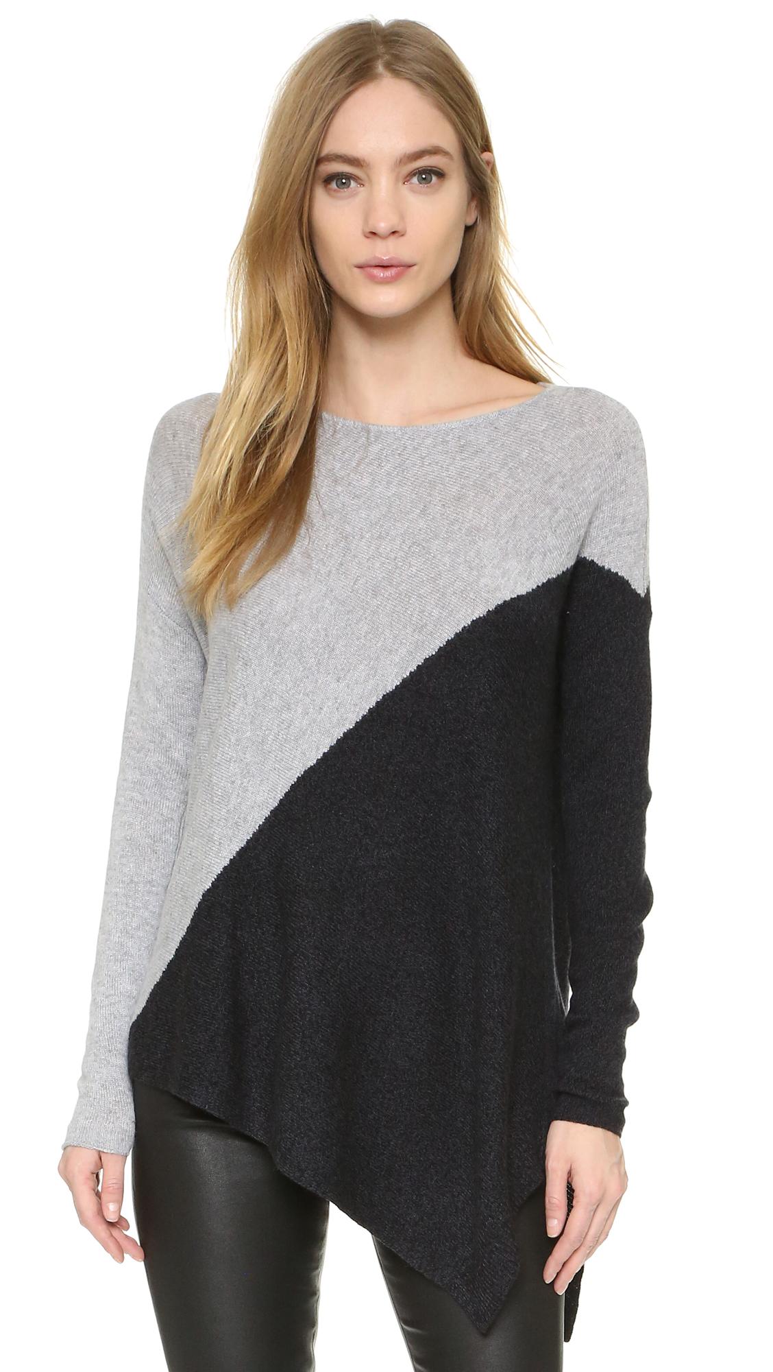 Alice + Olivia Colorblocked Bias Boxy Pullover - Grey/Charcoal at Shopbop