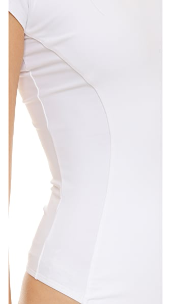 ALIX Classic Collection Mulberry Thong Bodysuit in White