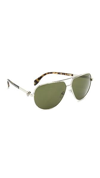 Alexander Mcqueen Skull Aviator Sunglasses - Silver/Green at Shopbop
