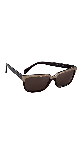 Alexander McQueen Metallic Two Tone Sunglasses