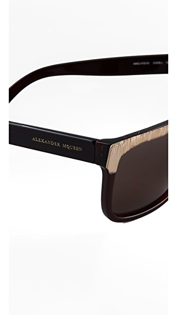 Alexander McQueen Metallic Two Tone Sunglasses