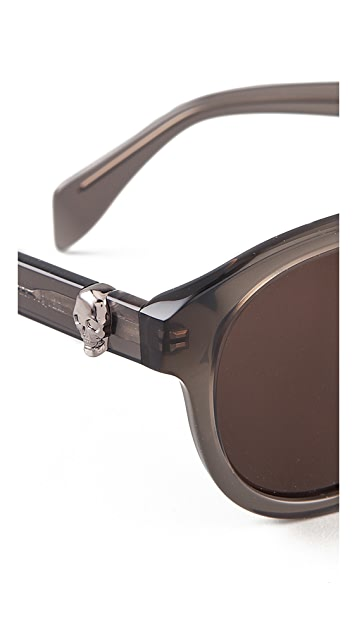 Alexander McQueen Preppy Round Sunglasses with Skulls