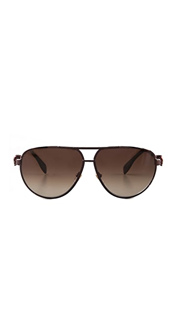 Alexander McQueen Metal Aviators with Skull