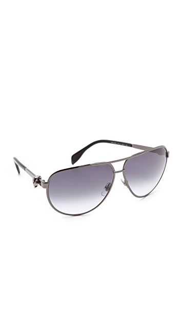 Alexander McQueen Metal Aviator Sunglasses with Skulls