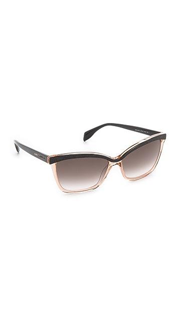 Alexander McQueen Two Tone Cat Eye Sunglasses