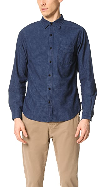 Alex Mill Indigo Dot Sport Shirt