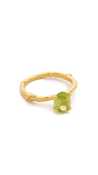 Alex Monroe Peridot Twig Ring