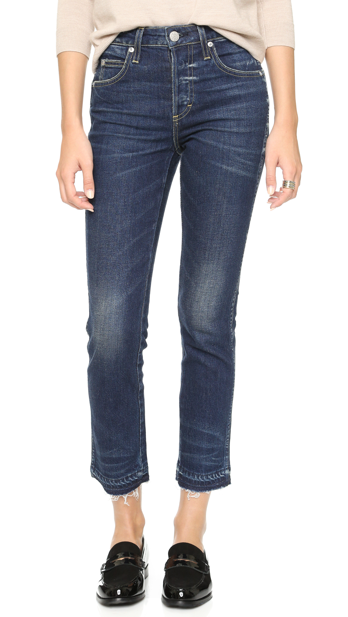 AMO Babe Cropped Jeans In True Blue