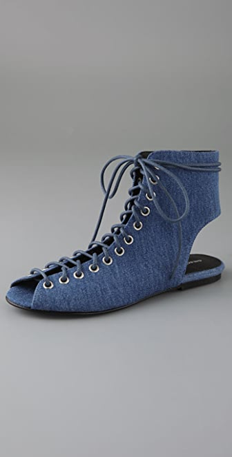 American Retro Athena Lace Up Denim Booties