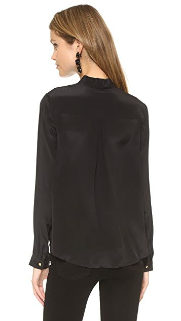 And B Signature Long Sleeve Tie Blouse