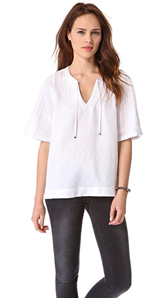 ANINE BING Boho Short Sleeve Top