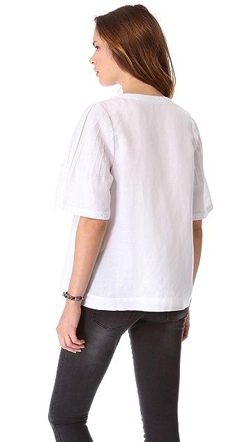 ANINE BING Boho Short Sleeve Top
