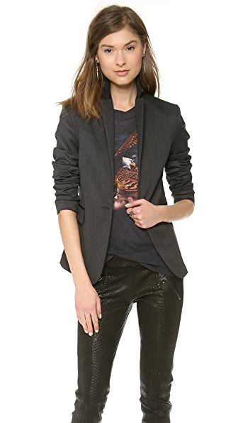 ANINE BING Blazer with Leather Trim