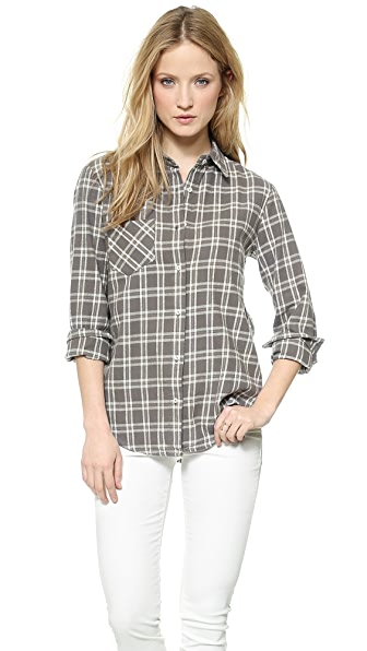 ANINE BING Plaid Cotton Button Down Shirt