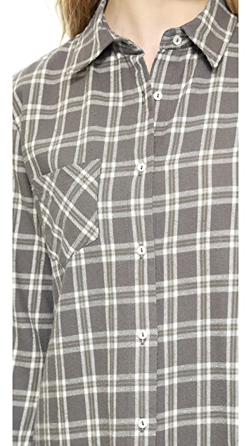 ANINE BING Plaid Cotton Button Down Shirt