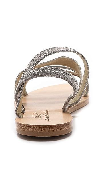 Anniel Mixed Media Flat Sandals