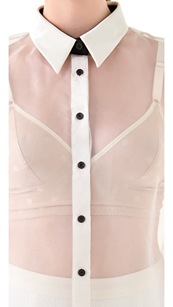 Antipodium Button Down Blouse with Shiny Collar