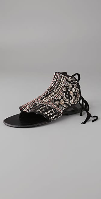 Antik Batik Langoa Beaded Flat Thong Sandals
