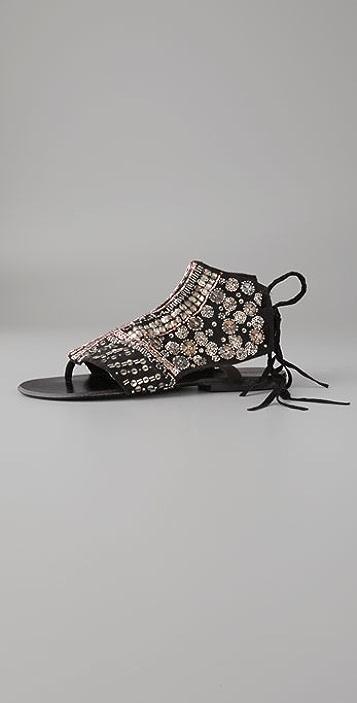 Antik Batik Langoa Beaded Flat Thong Sandals