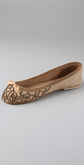 Antik Batik Kiwi Cotton Ballet Flats with Beads