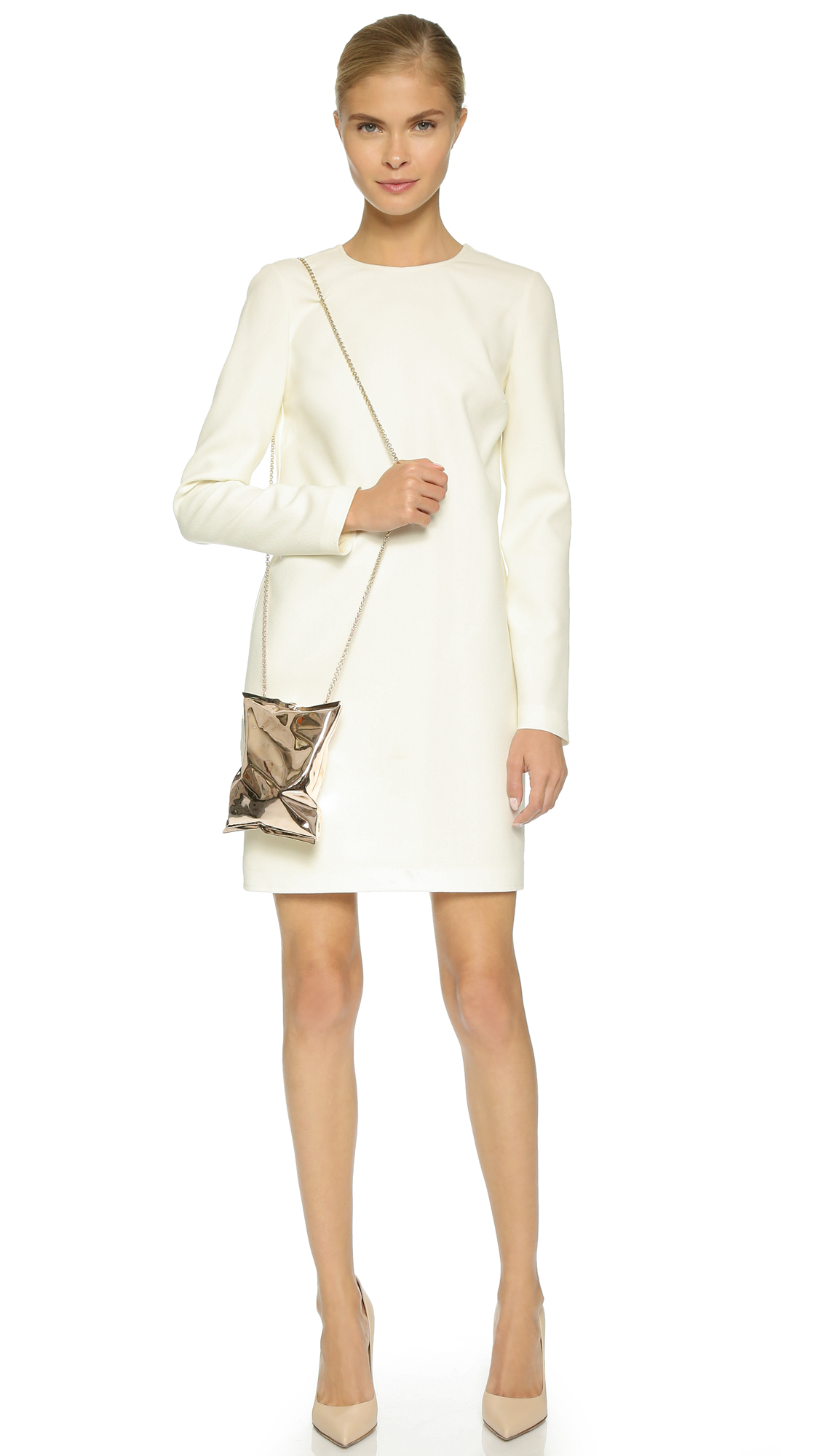 Open white back maxi dress