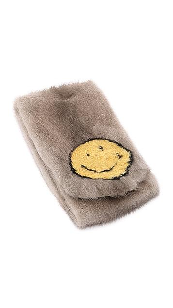 Anya Hindmarch Smiley Mink Scarf