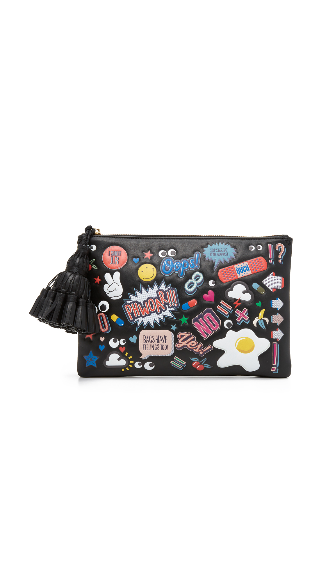 Playful, embossed graphics lend a touch of bold charm to this leather Anya Hindmarch clutch. An oversized, embroidered tassel hangs from the top zip, providing a unique finish. Suede interior with a zip pocket and 3 card