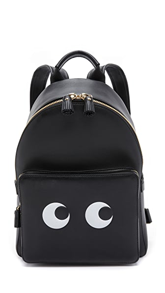 Eyes Mini Leather Backpack - Black