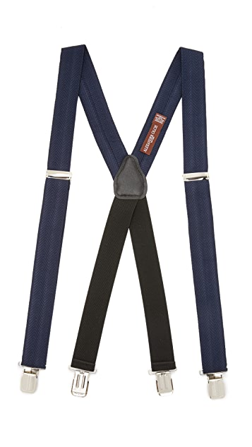 Alexander Olch Solid Herringbone Suspenders with Clips