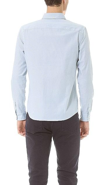 A.P.C. Bengal Stripe Sport Shirt with Button Collar