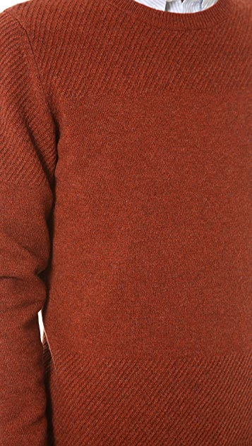 A.P.C. Lambswool Textured Stitch Crew Neck Sweater