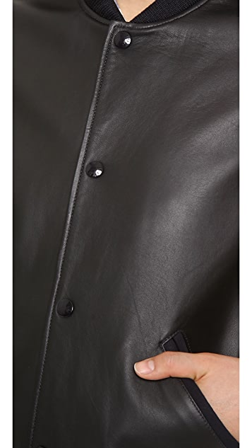 A.P.C. Teddy Rizzo Leather Bomber Jacket