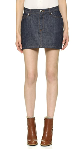 A.P.C. Denim Miniskirt - Indigo Brut at Shopbop