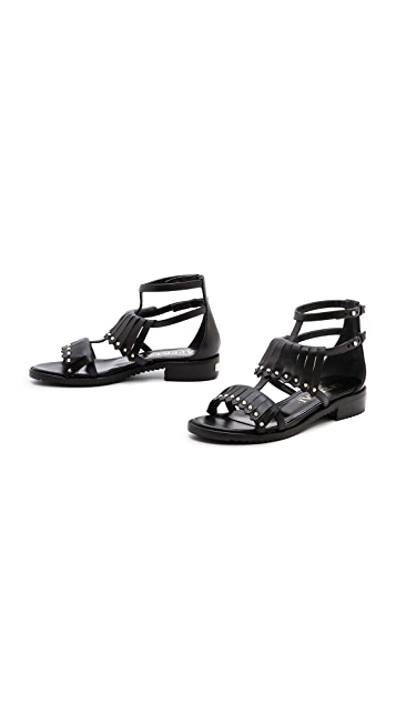 Aperlai Fringe Studded Sandals