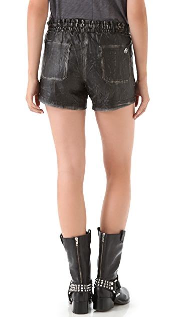 April, May Vic Leather Shorts with Embroidery