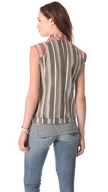 April, May Square Striped Jean Vest