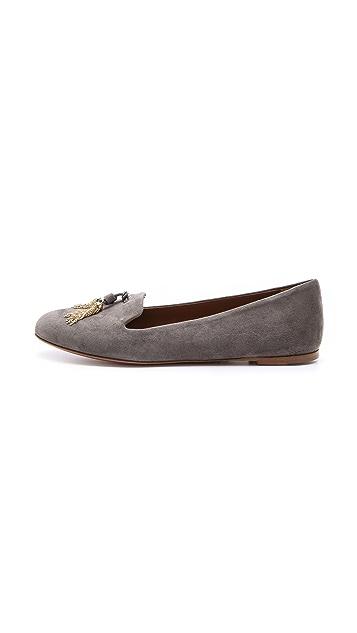 Aquazzura Corsini Slippers with Metallic Tassel