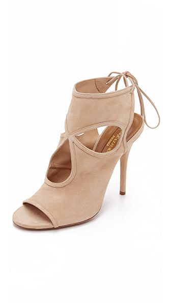 Aquazzura Sexy Thing Cutout Booties - Nude