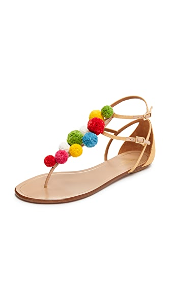 Aquazzura Pom Pom Flat Sandals - Beige/Multicolor